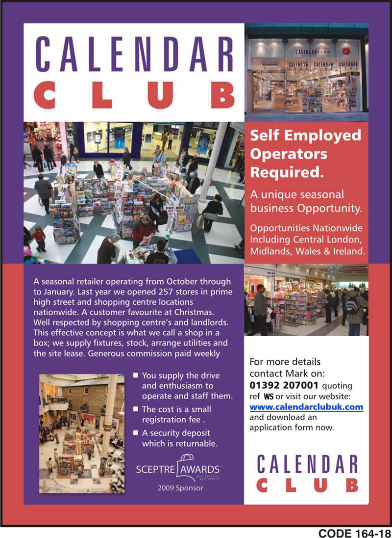 Calendar Club advertisement for self-employed owner operators (for an accessible version please visit http://www.calendarclubuk.com)